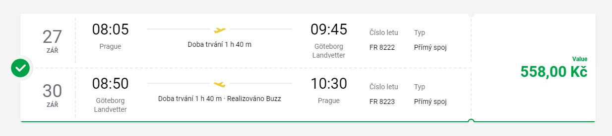 Nejlevnější letenky z Prahy do švédského Göteborgu