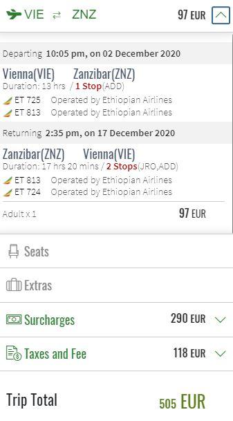 Prosincové letenky Zanzibar z Vídně