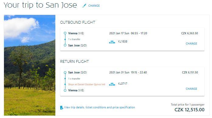 Kostarika: San José z Vídně (nebo i Prahy)