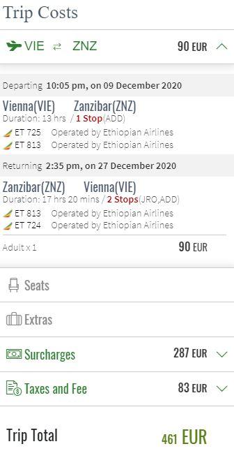 Letenky na Zanzibar z Vídně během Vánoc i ledna