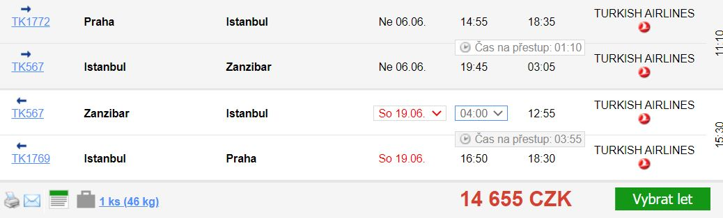 Levné letenky na Zanzibar s Turkish Airlines: z Vídně i Prahy