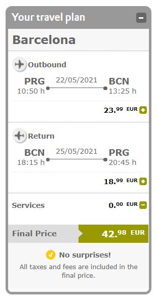 Flexibilní letenky do Barcelony z Prahy