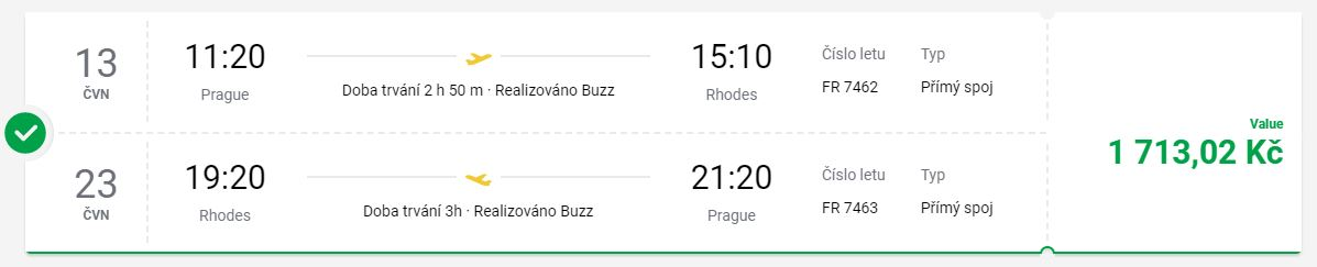 Červnové letenky z Prahy na řecký ostrov Rhodos
