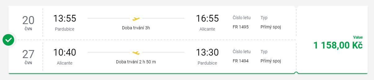 Červnové letenky z Pardubic do španělského Alicante