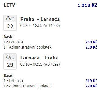 Z Prahy na Kypr do Larnaky v červnu a červenci