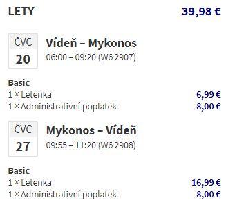Řecko: ostrov Mykonos v červenci z Vídně