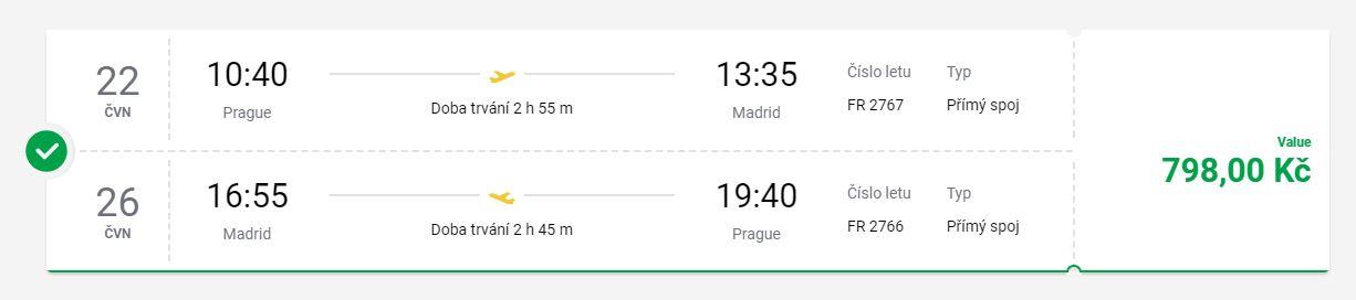 Červnové letenky z Prahy do Madridu
