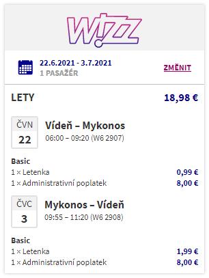Řecký ostrov Mykonos o prázdninách z Vídně