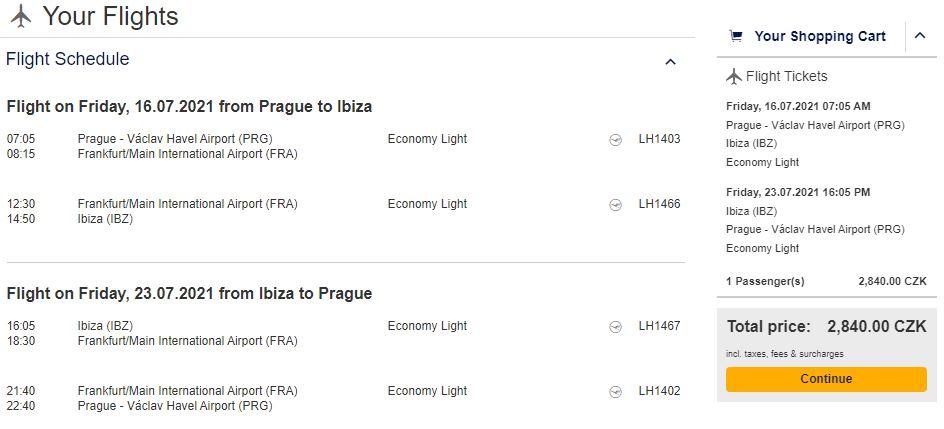 Španělská Ibiza z Prahy během letních prázdnin
