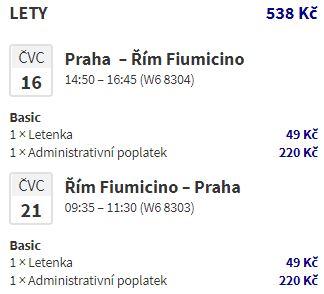 Nejlevnější letenky z Prahy do Říma o letních prázdninách
