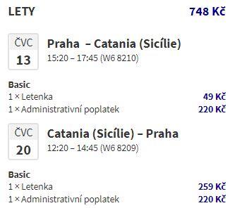 Nejlevnější letenky na Sicílii: z Prahy do Katánie