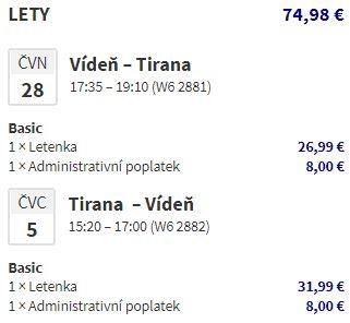Prázdninové letenky do Albánie: Tirana z Vídně