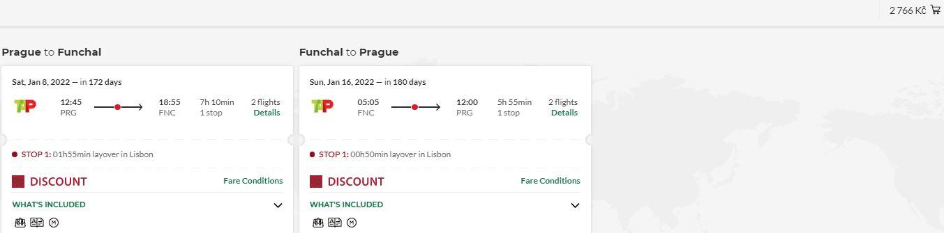 Nejlevnější letenky z Prahy na Madeiru jsou zpět