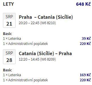 Srpnová Sicílie za fantastické ceny: z Prahy do Katánie