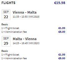 Levné letenky na Maltu z Vídně během srpna a září