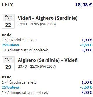 Nejlevnější letní letenky na Sardinii: Alghero z Vídně