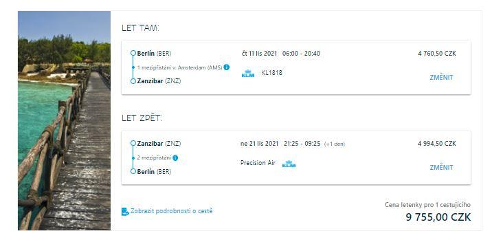 Levné letenky na Zanzibar z Berlína a Vídně
