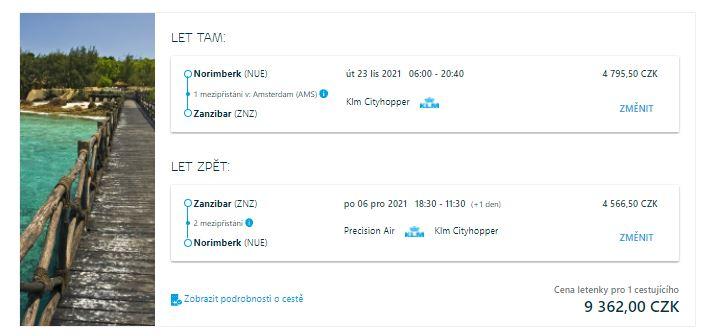 Zanzibar z Norimberku za skvělou cenu