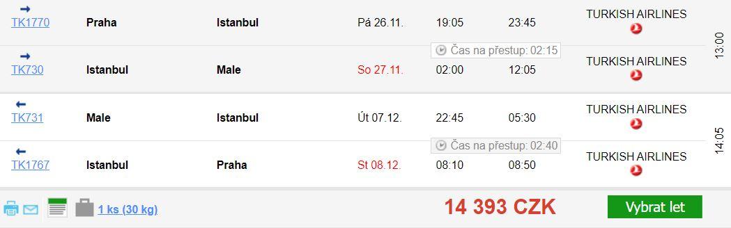 Z Prahy na Maledivy po celý rok s Turkish Airlines
