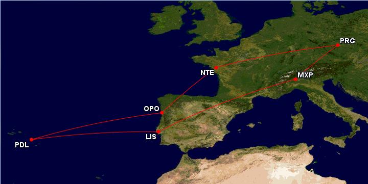 Milán, Lisabon, Azory, Porto, Nantes během jedné cesty za 4692 Kč